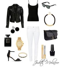 Black and white with gold by judith-molinero-fashion on Polyvore featuring VIPARO, AG Adriano Goldschmied, H&M, Alexander McQueen, Michael Kors, Bridge Jewelry, River Island, Ray-Ban, Yves Saint Laurent and Chanel