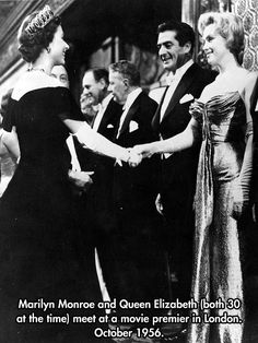 Marilyn Monroe And Queen Elizabeth Were Both Born In 1926 - OK is it just me or is that Mr. Bean in the picture next to Marilyn?!
