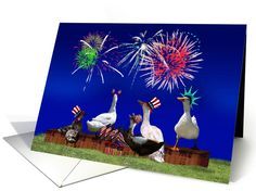 Happy Fourth of July! card - Celebrating Ducks are ready for a big fireworks celebration! Fun greeting card  by #Gravityx9 Designs