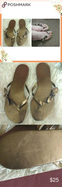Talbot's Sandals, Cute! Gold/Brass Metallic Flat sandals in gold metallic with bow by Talbots. Women's 9. Nice!!! Talbot's  Shoes Sandals