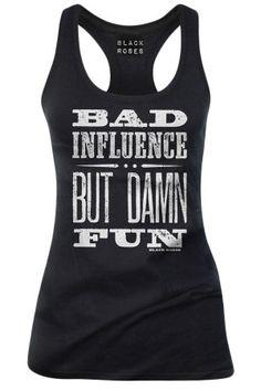 Women's Bad Influence But Damn Fun Tank Top - Black