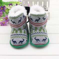 New Arrival Winter Fashion Deer Totem Baby Snow Boots Boy's & Girl's Warm Plush Toddler Shoes Comfort Kids Boots Newborn Gift  #upcube