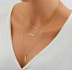 SALE 10% Perfect Layering Necklace / CZ Necklace / Skinny Vertical Bar Necklace / 14k Gold Fill Chain / Minimal Gold Bar Pendant / Diamond N