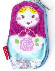 Turquoise Matryoshka purse wallet with small beads