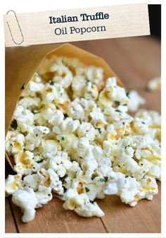 This recipe for Italian Truffle Oil Popcorn is a fantastic way to switch up your usual popcorn treat. With delightfully savory and buttery flavors, this will have you and your family looking forward to snack time!