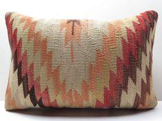 "Turkish Cotton Rug Kilim Kelim Lumbar Pillow Cover 20"" X 14"" Kilim Rug Pillows #Turkish"
