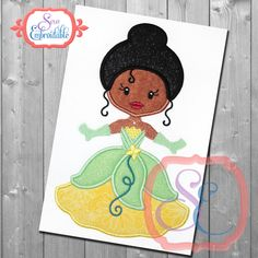 Little Princess 13 Tiana Applique Design For Machine Embroidery INSTANT DOWNLOAD by SewEmbroidable on Etsy