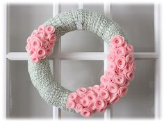 Pastel Wreath | http://www.etsy.com/listing/122627778/spring-summer-easter-mothers-day-yarn