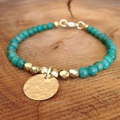 Gold and Amazonite Beaded Bracelet