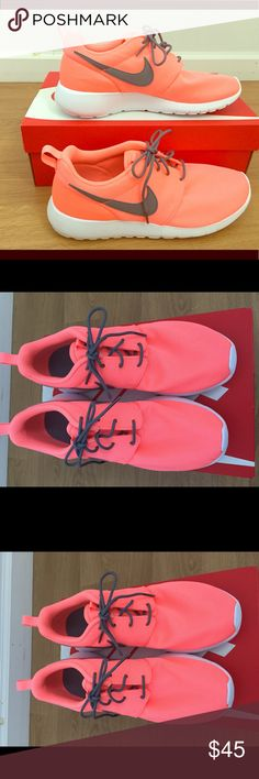 NWT Nike lava glow/cool grey Roshe One NWT Nike lava glow/cool grey Roshe One Youth size 7 but I wear a women's size 8 and it's the same size Nike Shoes Sneakers