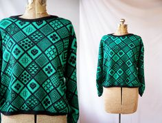 Vintage 1980's Sweater Green and Black Jumper by VintageCommon, $24.99