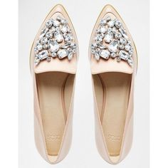 ASOS MONOPOLY Pointed Flat Shoes ($58) ❤ liked on Polyvore featuring shoes, flats, flat pointed-toe shoes, flat shoes, pointy toe shoes, patent flats and jeweled flats