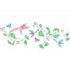 Use our beautiful Hummingbird Stencil for a border on your walls, on fabric for curtains or even old furniture. Stencilling is a quick, easy and cost effective way to accessorize any flat surface of your choice. We provide high quality stencils in various creative designs.