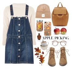 """Harvest Time: Apple Picking"" by arwitaa ❤ liked on Polyvore featuring Steve Madden, Mansur Gavriel, Topshop, Casetify and Over All MasterCloth (OAMC)"