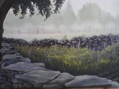 """This painting was sent to us by Mikki Carnevale. It is an Oil on Canvas that measures 16"""" x 20"""". The title is """"By the Old Rock Wall"""". This painting has great composition and great detail, it was well planned out and well done. Mikki, thank you for sharing your art with us! We appreciate it. #OilPainting #Artwork"""