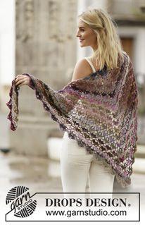 """Crochet DROPS shawl with fan pattern in """"Delight"""". ~ DROPS Design"""