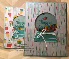 Just Sponge It: Snow Globe Birthday Cards, Sparkly Seasons bundle, Layered Letters, Tin of Cards stamp sets, Cherry on Top Designer Series Paper, Window Sheets, Sequins, Confetti Stars Punch, Big Shot, DIY, Stampin' Up! Birthday, Shaker Cards