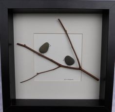 Scottish pebble art picture: Birds on branch 7 by PebblePictures