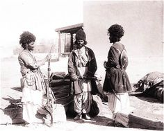 A photograph of Afghan warriors and their weapons taken by Scottish photographer Fred Bremner in 1895 near Quetta.