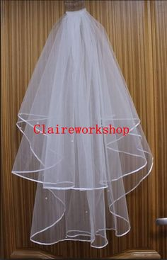 White/ ivory bride wedding veils comb veils 80cm by claireworkshop