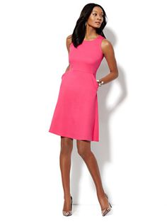 Shop Sleeveless Cotton Flare Dress - Solid . Find your perfect size online at the best price at New York & Company.
