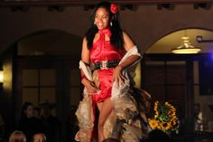 Reused plastic grocery bags make up much of this dress that was unveiled at the Earth Day fashion show at Monte de Oro Winery in Temecula.