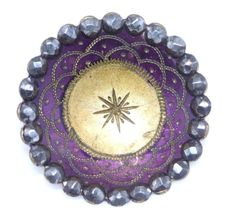 Antique 19th c button chased & tinted purple brass faceted cut steel border