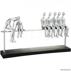 J-Line Abstract beeld 7 figuren zittend op bank zilver 40