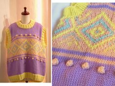 Fancy color contrast knit Boxy Oversized Sweater Vest Relax fit US 8 - US 9 Large COCOdake COuture Hand knitted Non-Itchy Wool Purple Yellow Peach Turquoise blue Purple Yellow, Blue, Couture Collection, Hand Knitting, Contrast, Relax, Peach, Vest, Fancy