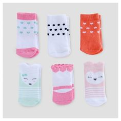 Baby Girls' 6pk Critter Socks - Just One You™ Made by Carter's® Pink/White 0-3M : Target