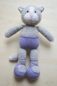 Knitted Cat Girl Toy Present Hand Knit Cat Ballerina Cat Doll