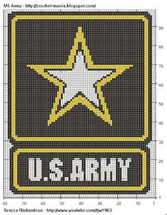 Need too make this in a knitting pattern!  Painted Tapestry Crochet: US Army Logo for Chart Tapestry Crochet