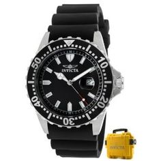 Invicta Men's 10917 Pro Diver Black Dial Black Polyurethane Watch with Yellow Impact Case