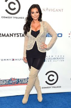 """Here's Jenni """"JWoww"""" Farley attending a Comedy Central event at the Beacon Theatre in the Big Apple. Needless to say, you can take the girl out of Jersey, but you can't take the Jersey out of the girl:::"""