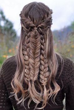 Coiffures Pour Lécole  2017 / 2018   Belle coiffure de Braid mélangé créée avec des extensions de cheveux luxueuses luxueuses par