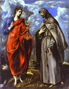 El Greco St John the Evangelist and St Francis , 1608 Oil on canvas 64 x 50 Spanish Painters, Spanish Artists, Francis Of Assisi, St Francis, San Juan Evangelista, St John The Evangelist, Catholic Art, Catholic Online, Catholic Saints