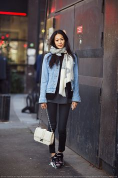 Amazing; the sneakers are a nice touch. #fallstyle #fashion #denimjacket