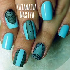 Turquoise nails with sheer black lace accents. (by @katanaeva_nails on IG)