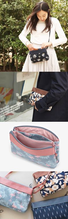 I adore this bag! It's small, but highly functional. There's a front pocket, Pochette Diy, Diy Vetement, Fabric Bags, Small Bags, Handmade Bags, Credit Cards, Shoulder Strap, Middle, Womens Fashion