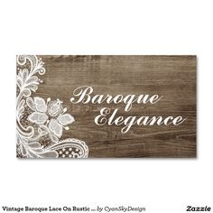 #Vintage #Baroque #Lace On #Rustic #Elegant Barn #Wood #Business Card on @zazzle #SmallBusiness #Marketing #Branding #DIY #Printed #Tatted #Sewing #Seamstress #Tailor #Antique