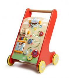 The Activity Walker is a brightly coloured walker with nature scene graphics and also helps develop confidence with walking. There is a storage tray at the back and the walker includes a spinning cage rattle, spinning rattle, mini abacus and many more activities to entertain and stimulate your child. H50xL34xD33cm