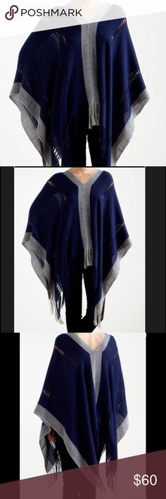 Women's Navy/Gray Poncho BEAUTIFUL BABY ALPACA LOOMED PONCHO, MADE BY ARTISANS IN THE CHACLACAYO REGION OF PERU. LIGHT WEIGHT PONCHO; NEW, BUT NO TAGS Tejido Sweaters Shrugs & Ponchos