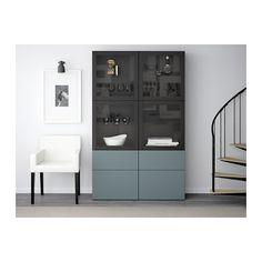 "For Booze Storage?  BESTÅ Storage combination w/glass doors - black-brown/Valviken gray-turquoise clear glass, drawer runner, soft-closing, 47 1/4x15 3/4x75 5/8 "" - IKEA"