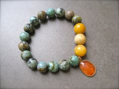 African Turquoise  Stackable Bracelet with by Sylviajewelry, $48.00