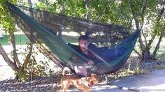 How to make a hammock bug-net, via YouTube.