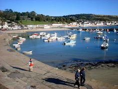 "Lyme Regis a coastal town in West Dorset, England, situated 25 miles west of Dorchester and 25 miles (40 km) east of Exeter. The town lies in Lyme Bay, on the English Channel coast at the Dorset-Devon border. It is nicknamed ""The Pearl of Dorset."" The town is noted for the fossils found in the cliffs and beaches, which are part of the Heritage Coast—known commercially as the Jurassic Coast—a World Heritage Site."
