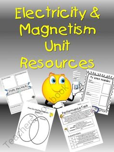 Electricity  Magnetism Unit Resources from Teaching the Stars on TeachersNotebook.com (10 pages)  - This unit includes resources to help your students learn more about electricity and magnets.   Included are nine pages of student-focused engagement sheets.  *Static Electricity Concept Map *Current Electricity Concept Map *Conductor/Insulator Lab Sheet *