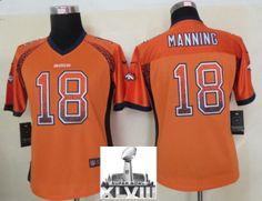 Women Nike Denver Broncos 18 Peyton Manning Orange Drift Fashion Elite 2014  Super Bowl XLVIII NFL Jerseys New 42a69353c