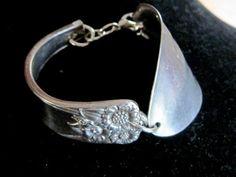 silver cuff spoon Bracelet, vintage silverware jewelry
