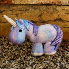 purple/blue painted clay unicorn by SpottedHorseKorral on Etsy